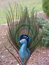Polymer Clay OOAK Miniature Handmade Peacock Feather Cupcake/Flower Wedding Pick