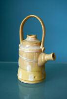 Teapot Studio Pottery Handled Ikebana Basket Vase Yellow Signed Kyusu Modern Art