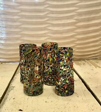 Mexican Hand Blown Confetti Shotglasses - Set of 4