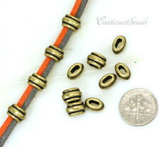 TierraCast Barrel Beads, Small Deco Crimp Beads, Antiqued Brass, 10 Pcs, 00316