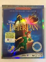 Peter Pan (Blue-Ray + DVD + Digital Code) NEW Anniversary Edition W/ Slipcover