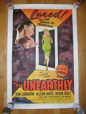 The Unearthly ORIGINAL 1957 HALF-SHEET POSTER Horror LINENBACKED John Carradine