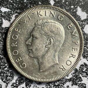 1942 New Zealand 1 Florin Lot#PJ138 Silver! High Grade! Beautiful!