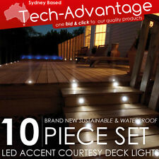 10 x WATERPROOF WHITE/BLUE/RED/GREEN LED DECK/GARDEN/STAIR/STEPS COURTESY LIGHTS