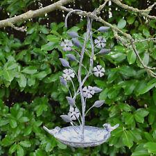 Grey Antique Hanging Outdoor Garden Bird Bath Feeder Feeding Water Station 41cm