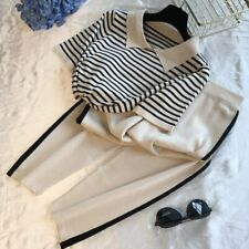 Lapel stripe Short-sleeved Knitting Outfit + Wide-leg Pants Two-piece Suit