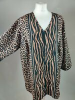 Vintage Women Blouse Brown Animal Cheetah Print Long Sleeve Vneck Plus 18 20