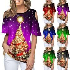 Women Christmas Tree Printed T-shirt Loose Short Sleeve Cold Shoulder Xmas Tops