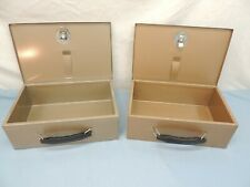 Pair Of Metal Rockaway Fire Resistant Boxes Safe Case w/ Handle Key Fits Both