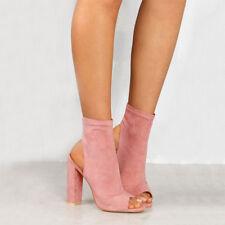 Womens Block High Heel Sandals Peep Toe Zipper Ankle Boots Summer Party Shoes AU