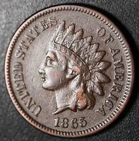 1865 INDIAN HEAD CENT - With LIBERTY - Near XF EF