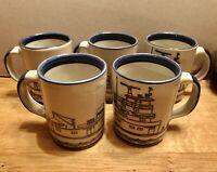 Set (5) VINTAGE Louisville Stoneware Blue Ship ACBL Cup / Mug Made In USA