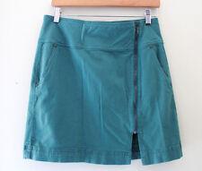 NEW! Prana Designer Teal Green Front Zip Cotton Cargo Striped Skirt 4 $69