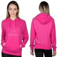 Adidas Originals Women's Trefoil Logo Pink Hoodie Hooded Jacket Hoody AY9003