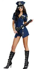 Halloween Police Officer Costume For Women Blue Zip Party Cosplay Uniform