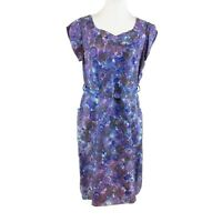 Blue purple floral print cap sleeve vintage sheath dress 18 L