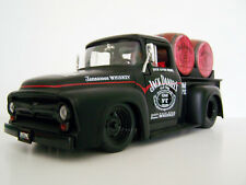 1956 Ford F100 Jack Daniels Custom Graphics Diecast Black Pickup incls 2 Barrels