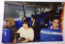 vintage PHOTO People with Various Emotions Sitting on Tour Bus with Blue Seats