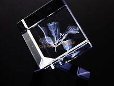 Laser Engraved Crystal Flower Gift for Christmas Lover Birthday Present