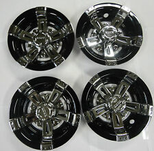 "GOLF CART UNIVERSAL HUBCAPS WHEEL COVERS GOLF CART 8"" VEGAS CHROME BLACK CAP-048"