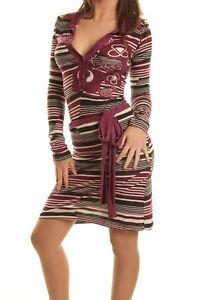 Vestito Donna Abito Miniabito PHARD A746 Viola/Beige/Nero Tg M