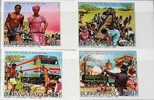 BURKINA FASO 1986 1082-85 766-69 Railroad Construction Trains Züge Locomotives**