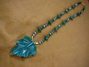 (v307-23) Green Polar jade LEAF Canada gemstone beaded Necklace fashion JEWELRY