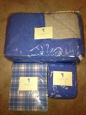 New Pottery Barn Kids Blue Shining Star Quilt Coverlet Twin Sheet Set