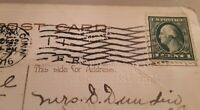 1916 CT New Haven Fancy Cancel Postcard 1 Cent Stamp