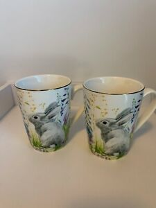 WILLIAM SONOMA BUNNY TALL MUGS PAIR! EXCELLENT USED CONDITION GREAT FOR EASTER!!