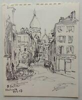 Emmanuel BELLINI (1904-1989) Dessin Original Montmartre Sacré-Cœur Paris signé