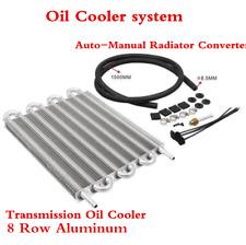 Remote Transmission Oil Cooler 8 Row Aluminum/Auto-Manual Radiator Converter Kit
