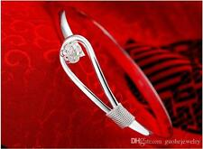 925 Sterling Silver Bracelet Bangle Floral Rose  Ladies Fashion Jewelry Gift