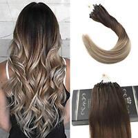 HOT Ugeat 50g Balayage Micro Loop Hair Extensions Dark Brown to Bleach Blonde
