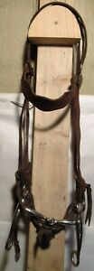 Vintage Vogt Silver Mounted Headstall W/ Tom Thumb Snaffle Horse Bit Style