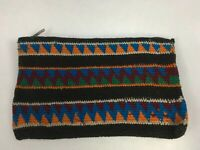 Vintage Guatemalan Black Blue Green Hand Woven Coin Purse Pouch Wallet NOS