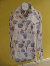 NEW Cynerjammies Nora Rose Lilac Floral Lace Trimmed Pajamas Top Size 14 Cotton