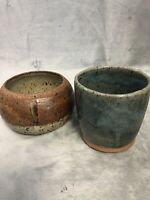 Unidentified Vintage Studio Art Pottery Lot Of 2 One Signed Dtd 1976 Stoneware
