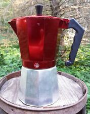 Vintage Palm Restaurant Coffee Stove Top Metal Rare Red Color Espresso Maker