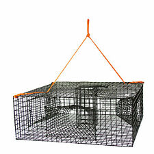 Heavy Duty Mesh Shrimp Crab Lobster Trap 4 Tunnels Sea Steel Wire Cage Bait Box