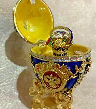 "Faberge Egg Musical Blue Royal Lion Flowers. Swan Lake plays (5"")"