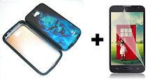 LG Optimus Exceed 2 VS450PP Hybrid Phone Case+Screen Protector - Blue Skull