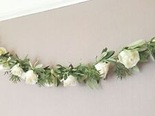 Artificial Ivory Rose Garland, String of 22 Realistic Faux Silk Flowers, Wedding