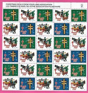 Canada - Christmas Seals 1981.  Sheet of 30. Top.