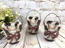 "Rusty Chippy Metal Mini Pail Small Bucket Farm Cow Set/ 3 Country Home 3"" tall"