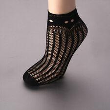 Lace Black Ruffle Stripe Hollow Fishnet Mesh Short Ankle Socks Stockings Gift