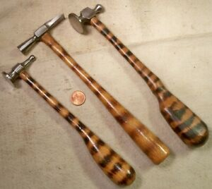 Set 3 Jewelers Hammers Chasing & Cross Peen Good Shape Working Collectible READ
