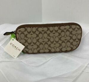 Coach Signature Eyeglass Case Zip Canvas Leather F60352 Khaki Toffee  B16