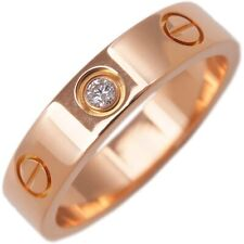 Auth Cartier Mini Love Ring 1P Diamond Rose Gold #49 US5 EU49