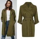 TOPSHOP Khaki Textured Truster Trench Coat Jacket Mac Size 8 to 16